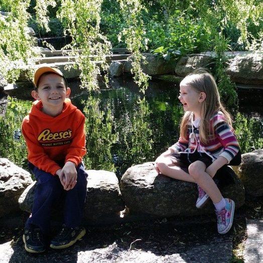 my favorite kiddos enjoying a break from the nature walk